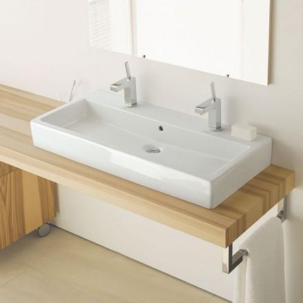 Vero vasque poser 100 cm avec 2 trous de robinets for Grande vasque salle de bain