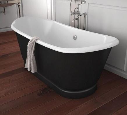 Salle de bain 3 styles d couvrir autour du noir et for Baignoire noire et blanche