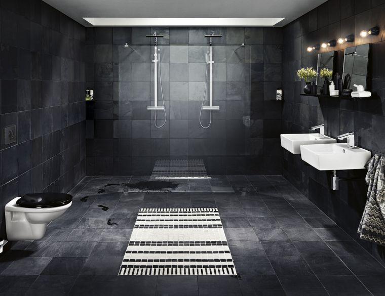 idée de salle de bain noire