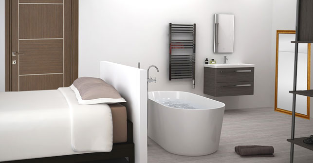 une salle de bain dans la chambre