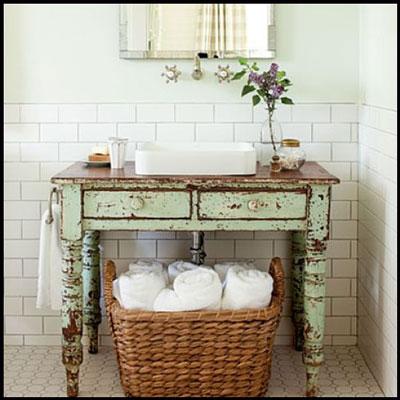 bain choisir un bureau dpoque comme support de vasque ou encore opter pour les anciens mobiliers comme les coiffeuses et les secrtaires - Tablette Retro Salle De Bain
