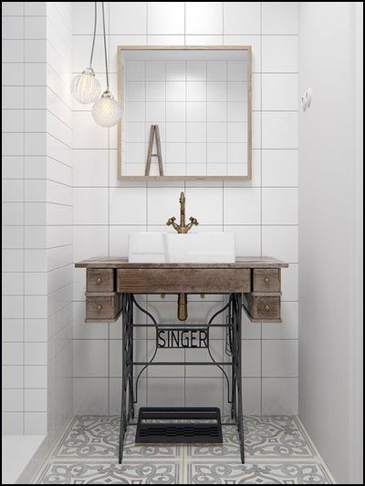univers-retro-new-vintage-dans-la-salle-de-bain - Lavabo Retro Salle De Bain