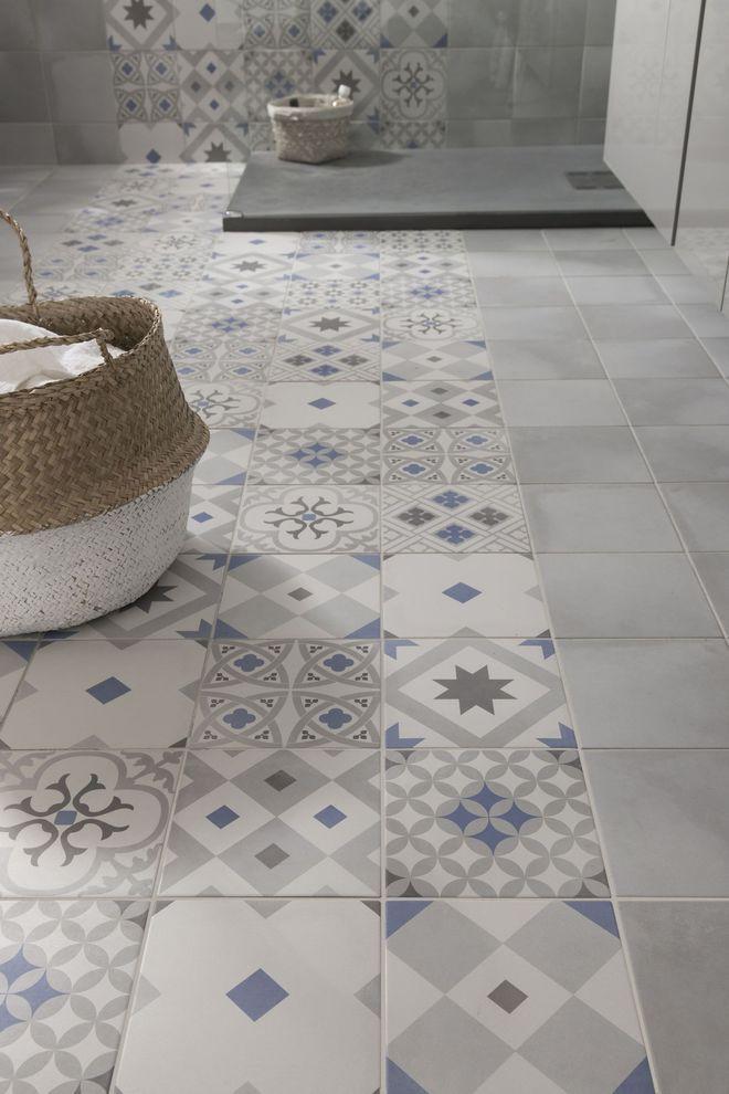 le carreau de ciment dans la salle de bain - masalledebain.com - Carrelage Salle De Bain Avec Motif