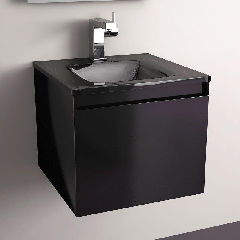 la salle de bain en noir et blanc - masalledebain.com - Salle De Bain Meuble Noir