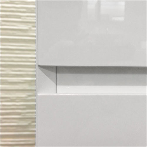 Meuble salle de bain blanc 120 cm 4 tiroirs plan verre glass - Panneau mdf laque blanc ...