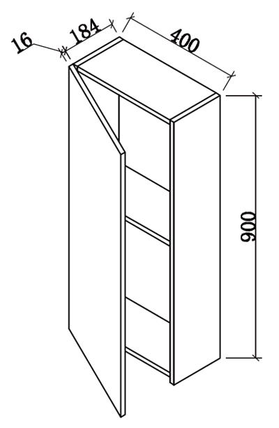Demi colonne flex blanc brillant 90x40 cm for Colonne cuisine profondeur 40