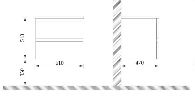 meuble salle de bain 60 cm noyer 2 tiroirs plan c ramique cardo. Black Bedroom Furniture Sets. Home Design Ideas