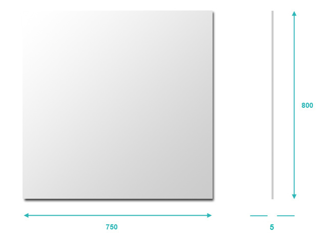 Miroir salle de bain 75x80 cm glass for Hauteur d un miroir de salle de bain