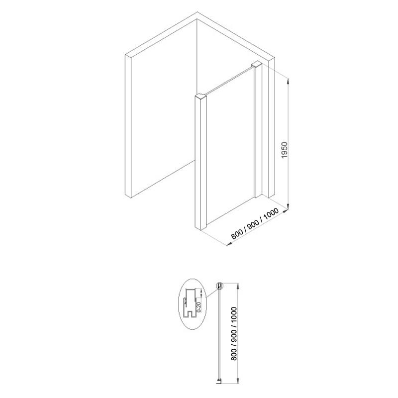 paroi fixe water pour combinaison 80 100 cm. Black Bedroom Furniture Sets. Home Design Ideas