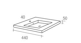 vasque semi-encastrable : schéma technique