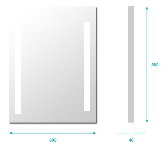 Miroir lumineux salle de bain anti bu e 60x80 cm for Hauteur d un miroir de salle de bain