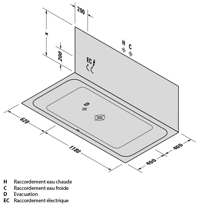 Baignoire rectangulaire 180x80 cm acrylique d code - Contenance d une baignoire ...