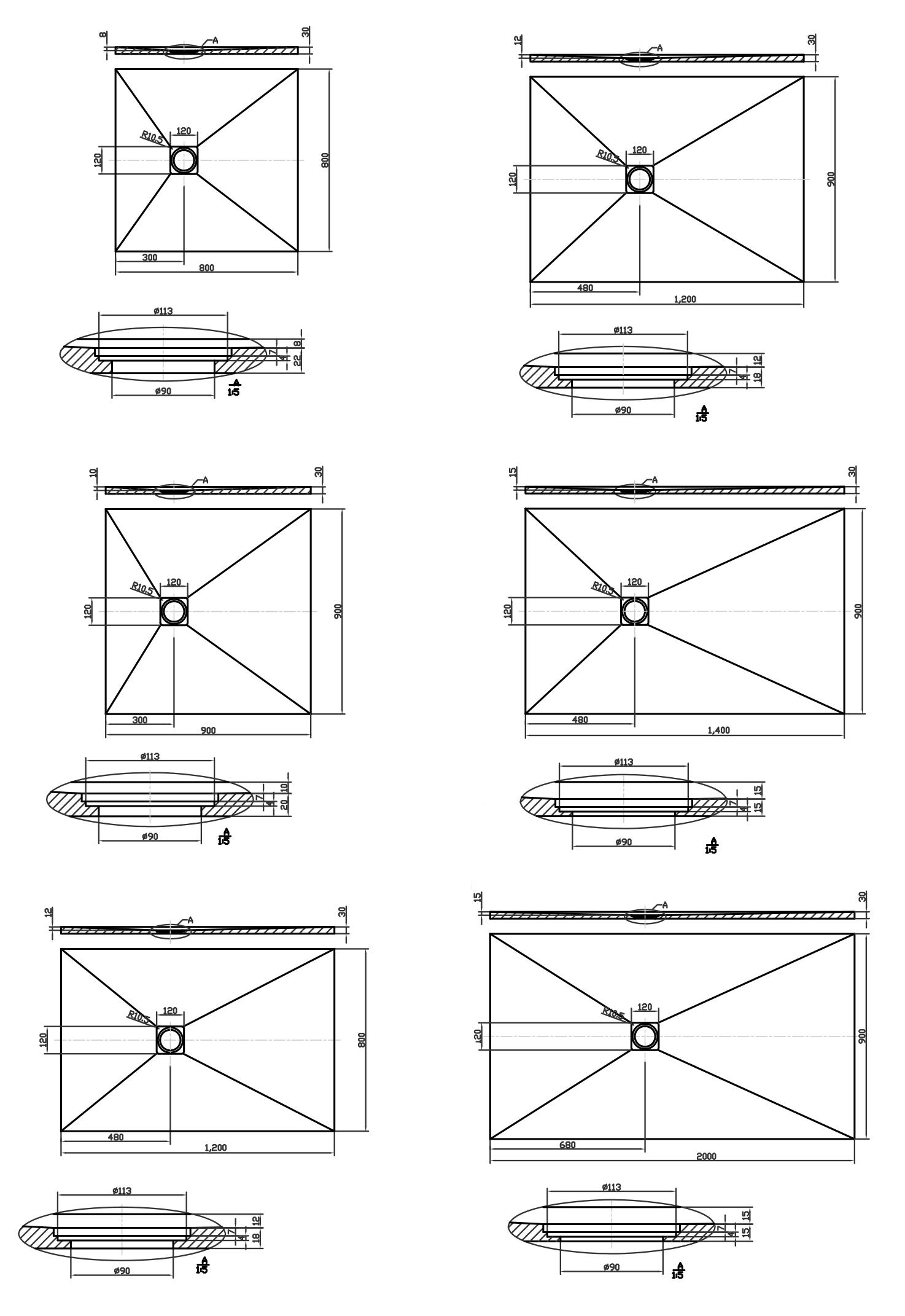 receveur de douche rectangulaire 80 200 cm composite blanc cut. Black Bedroom Furniture Sets. Home Design Ideas