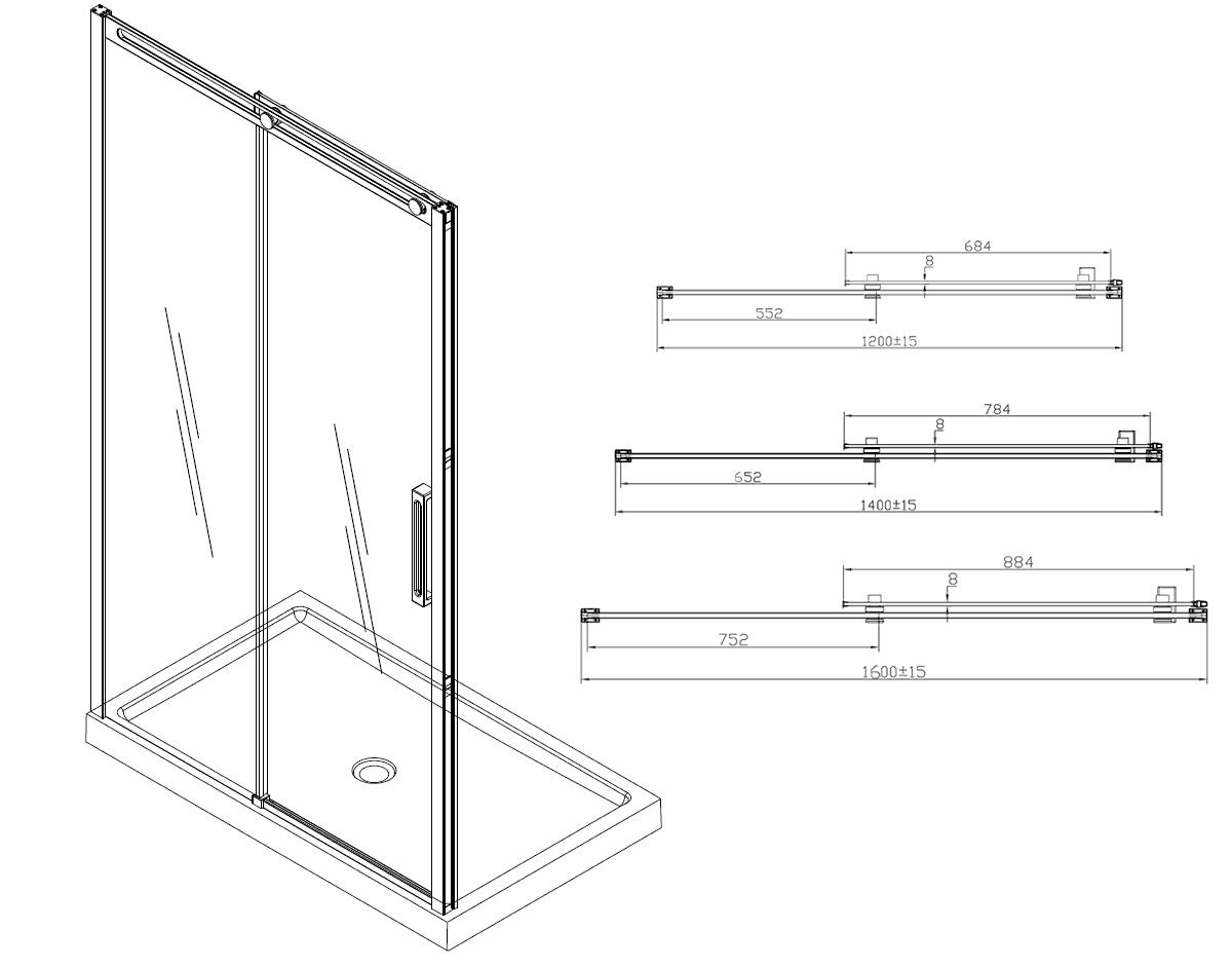 Porte de douche coulissante roller 120 160 cm for Porte coulissante douche 160