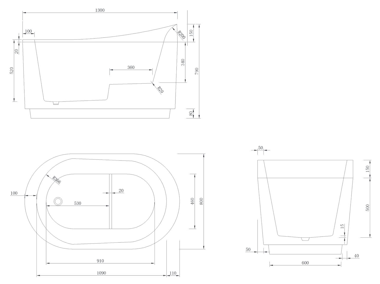 Baignoire ilot sabot 130x80 cm petite dimension for Baignoire petite largeur