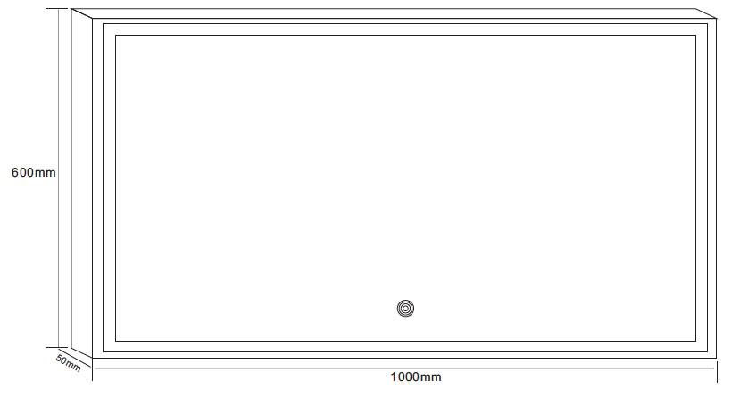 miroir salle de bain 100x60 cm clairage led anti bu e idlight border. Black Bedroom Furniture Sets. Home Design Ideas