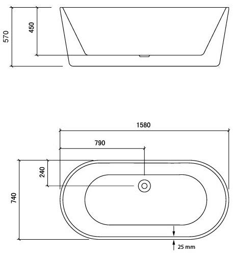 Baignoire ilot ovale 158x74 cm petite dimension - Baignoire d angle petite dimension ...