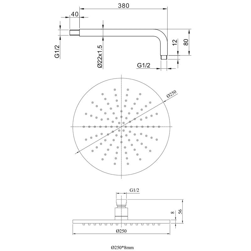 Schéma technique : Pomme de douche ronde, 25 cm