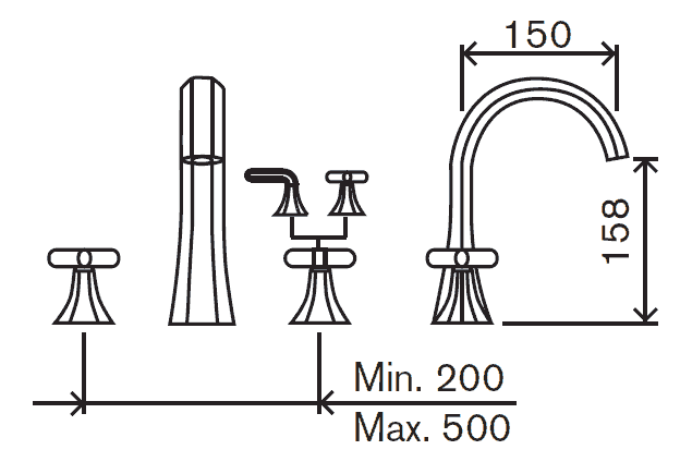 robinet m u00e9langeur lavabo 3 trous  hexa