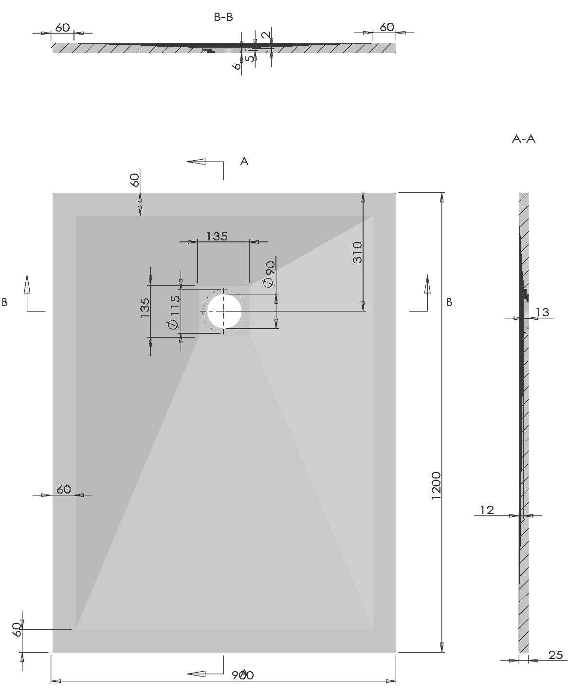 Schéma technique Ardesia 120x90 cm