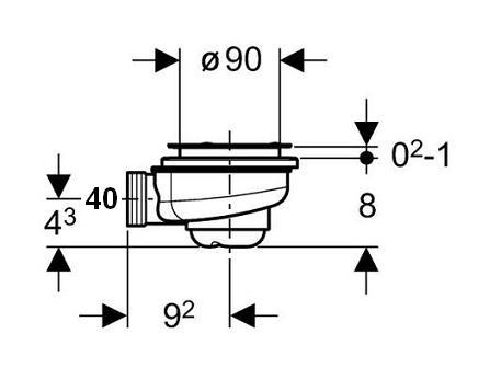 bonde douche geberit uniflex 90 sans couvercle. Black Bedroom Furniture Sets. Home Design Ideas