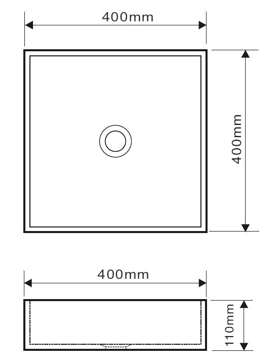 Schéma technique : vasque à poser minéral 40x40