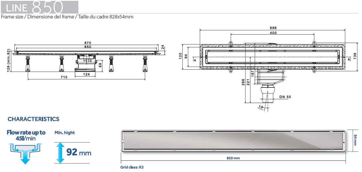 Caniveau de douche line 850 - Dimension douche italienne ...