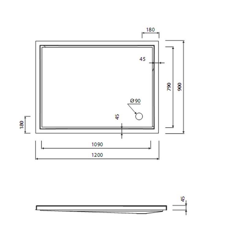 receveur de douche piana 120x90x4 5 cm. Black Bedroom Furniture Sets. Home Design Ideas