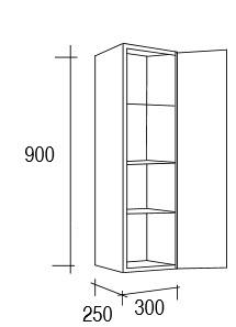Demi colonne de rangement ch ne et solid surface 90x30 cm elys e for Meuble 80x30