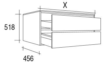 Meuble elys e 150 cm 2 tiroirs for Meuble 80x30