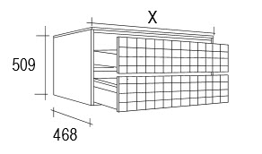 Meuble salle de bain 108 149 cm 2 tiroirs grid for Meuble 80x30