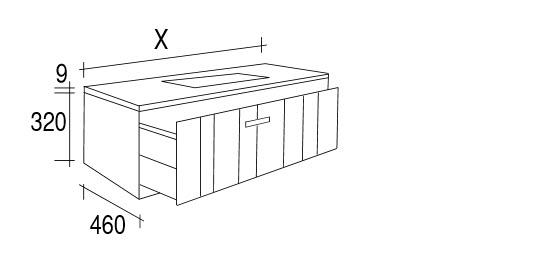 Meuble salle de bain noyer 160 200 cm 2 tiroirs valnot for Meuble 80x30