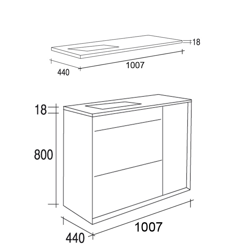 Meuble salle de bain en noyer 100 cm 2 tiroirs plan for Meuble 80x30