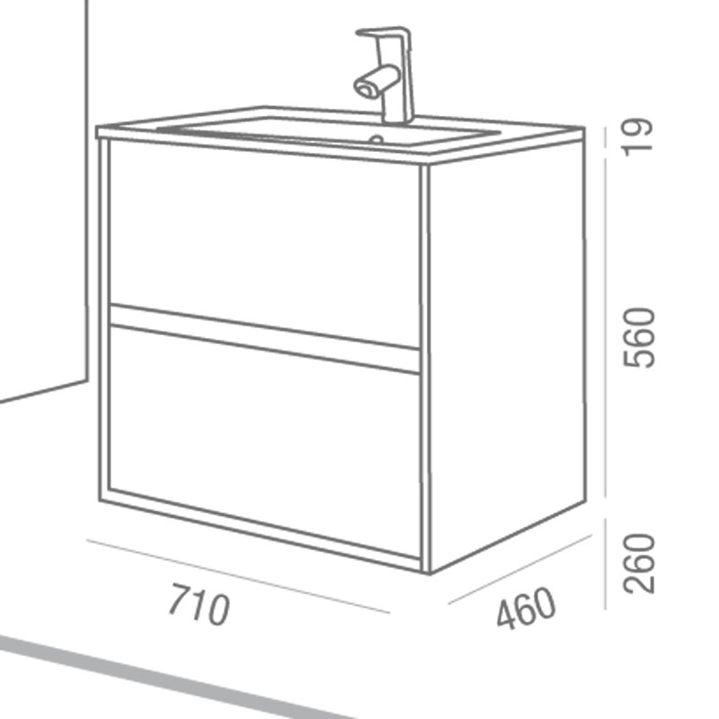 Sch ma technique meuble salle de bain 70 cm aliso for Meuble salle de bain 70 cm