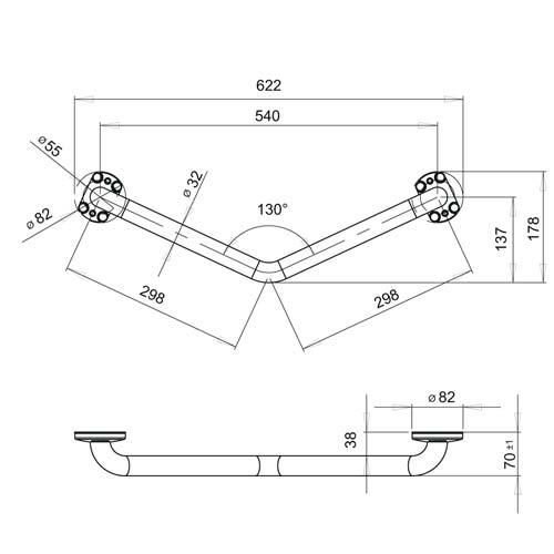 Schéma technique barre easy 30x30 cm