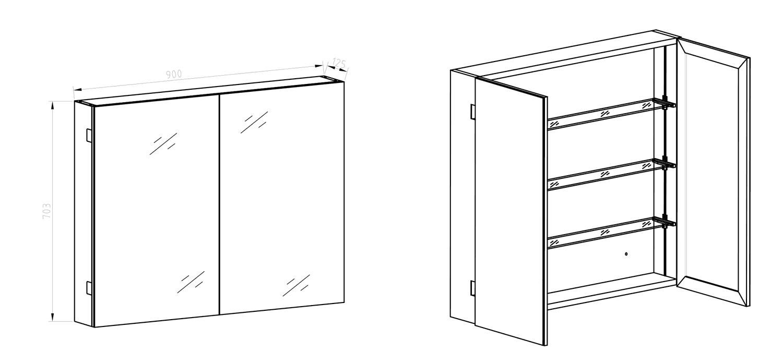 armoire de toilette 90 cm aluminio. Black Bedroom Furniture Sets. Home Design Ideas
