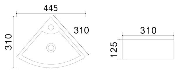schu00e9ma technique lave main angle pure 31cm - Remontees Odeurs Salle De Bain