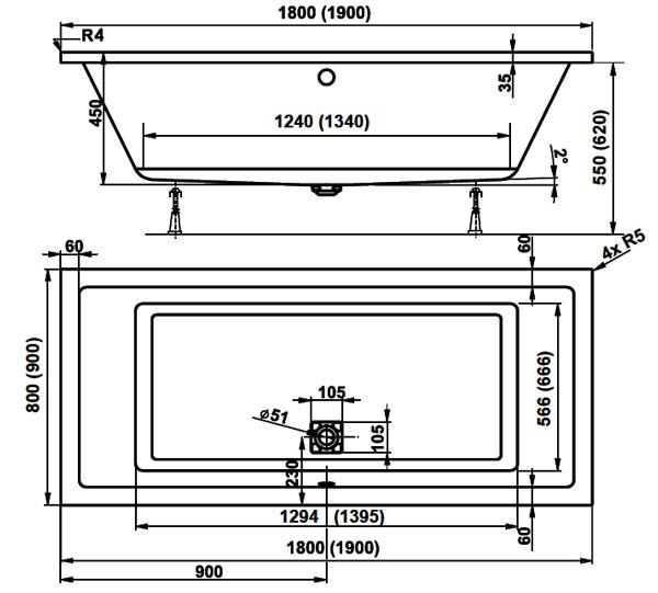 Baignoire rectangulaire 190x90 cm acrylique cavallo - Contenance d une baignoire ...