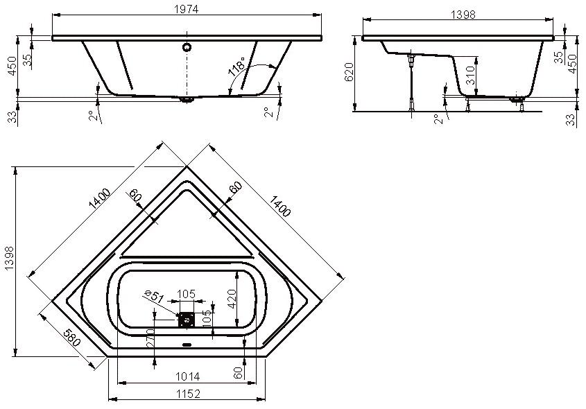 Baignoire D Angle Cavallo 140x140 Cm