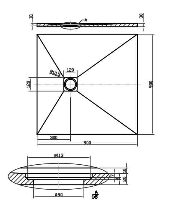 Schéma technique : receveur de douche cut gris souris