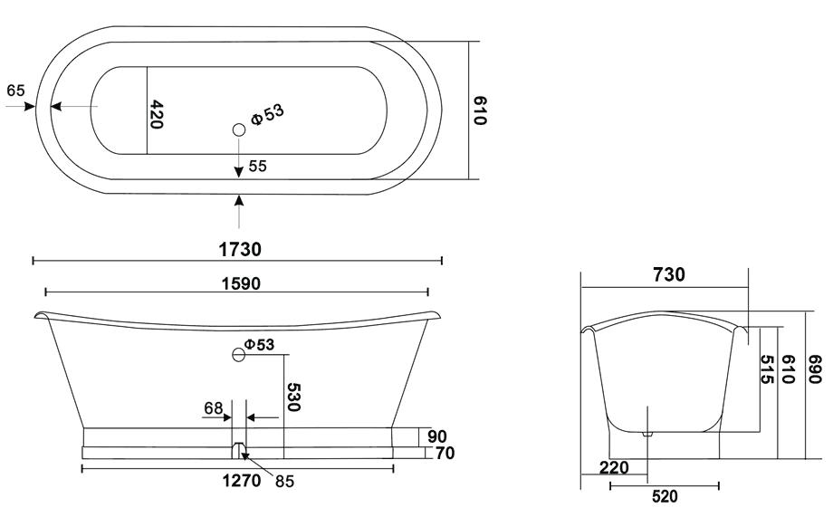 TECHNICAL DRAWING schema-baignoire-cambridge