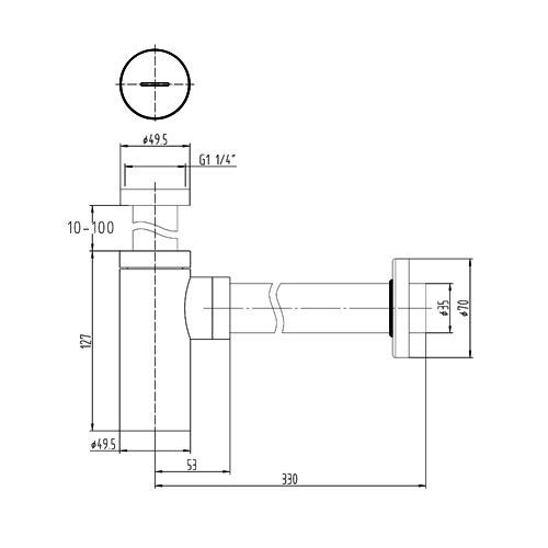 TECHNICAL DRAWING Schéma technique siphon