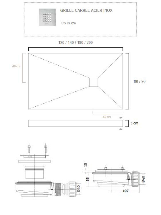 TECHNICAL DRAWING fiche technique Cube