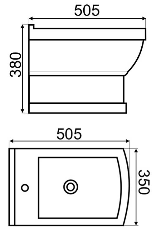 TECHNICAL DRAWING Schéma-Bidet suspendu Joséphine