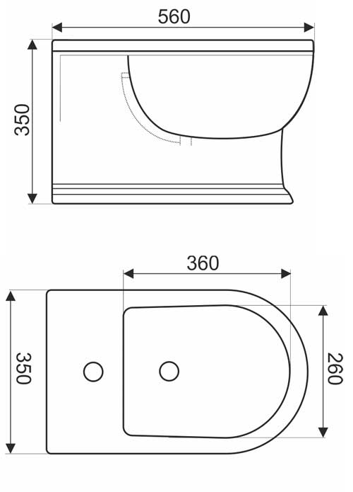 TECHNICAL DRAWING Schéma-Bidet suspendu laetitia