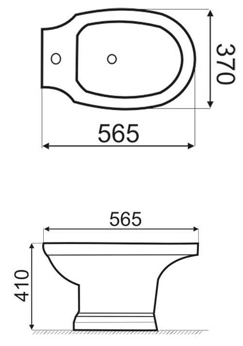 TECHNICAL DRAWING Schéma-Bidet poser laetitia