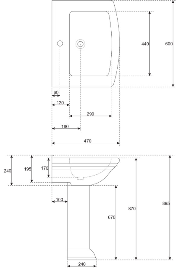 TECHNICAL DRAWING schéma-lavabo joséphine