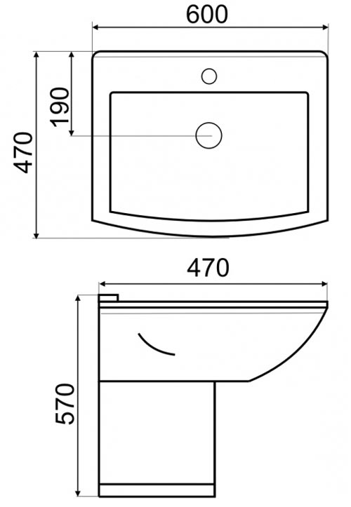 TECHNICAL DRAWING Schéma lavabo suspendu jospéhine