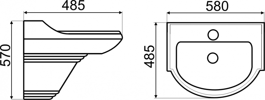 TECHNICAL DRAWING schema-lavabo suspendu laetitia