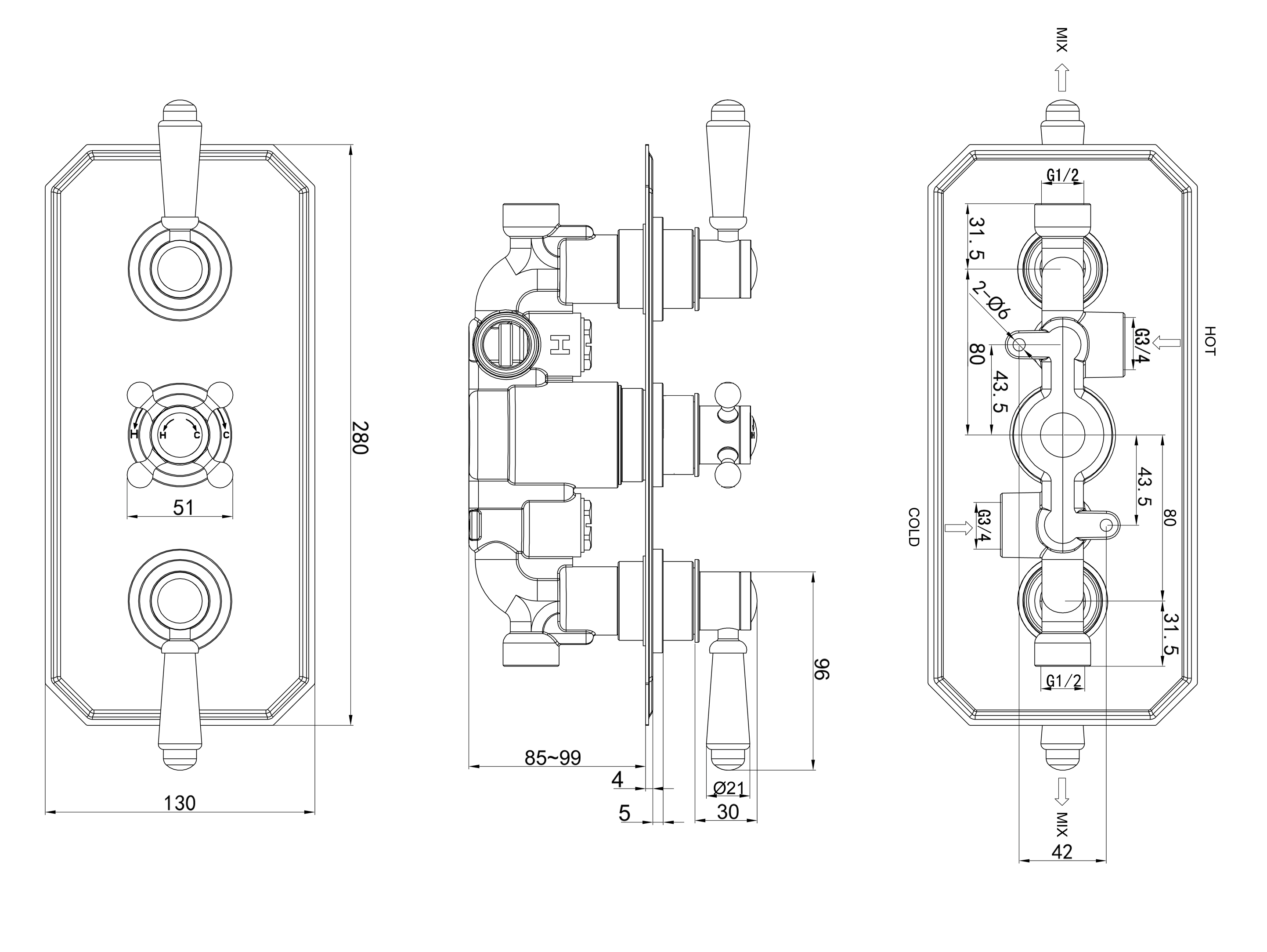 TECHNICAL DRAWING Schéma-robinet thermo-diana